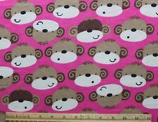 SNUGGLE FLANNEL - MONKEY FACES on HOT PINK 100% Cotton Fabric *NEW* BTY