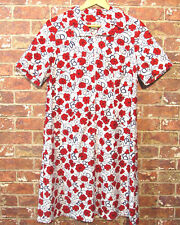 VTG 60's 70's Finnish Dress 46 D XL Floral Red Flowers Short Sleeve Collared Mod