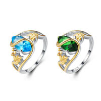 Exquisite Fashion Blue Topaz & Emerald Gemstone Jewelry Silver Ring Size 6 7 8 9