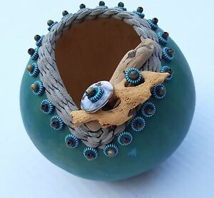 Gourd Folk Art Beads Wood Shell Teal Turquoise Blues Signed R KAY HEJNY Vintage