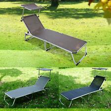 Tumbona Inclinable Aluminio Plegable Hamaca Playa Piscina con Parasol NUEVO