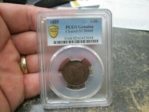 1835 US HALF CENT IN PCGS EXTRA FINE CONDITION
