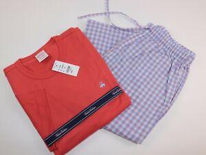 NWT $98 BROOKS BROTHERS Size S Mens S/S Multicolor Plaid Cotton Pajama Pant Set