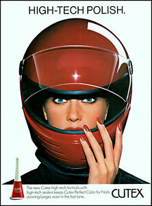1986 Beautiful woman Cycle helmet Cutex Nail polish retro photo print ad ads23