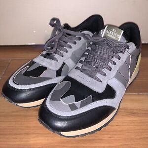 Mens Valentino Rockrunner Sneaker Size 44 US 11 Black Gray Camo Burgundy Yellow