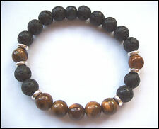 TIGER EYE and BLACK LAVA STONE stretch beaded BRACELET - Unisex