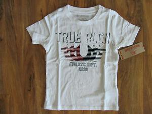True Religion Striped Horseshoe T-Shirt-White- Boy's Size 6-NWT $39
