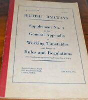 British Railways BR Supplement No 4 to General Appendix Timetables & Rules 1971