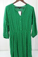 Banana Republic 100% Rayon Green W/Navy & Black Fit & Flare Dress Size - Large