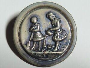 Antique Tinted Picture Button - Little Girls Gardening, Children, BBB