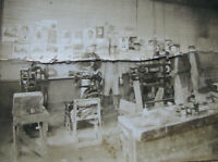 SHOEMAKER COBBLER WORK SHOP Cabinet Photo w/ SINGER SEWING MACHINE / POSTERS VTG