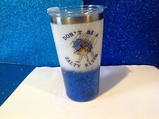 Dble insulated Stainless Glitter tumbler W/lid Blue 16 oz Salty bitch