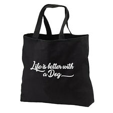 Life Better With A Dog NEW Black Tote Bag Gifts Books Shop Travel Fun Events