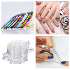 6Pcs Clear Nail Art Striping Tape Line Case Tool Sticker Box Holder