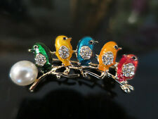 Gorgeous Vintage design 5 birds on a Branch Brooch, faux pearl, enamel