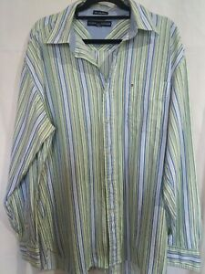 Tommy Hilfiger 80s 2ply Fabric Striped Mans Shirt Size M