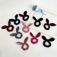 Fashion Bunny Ear Bow Hair Scrunchies Ponytail Hair Band Girl Hair Ring Headwear