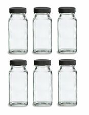 Nakpunar 6 pcs 6 oz French Square Glass Spice Jars with Shakers and Black Lids