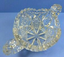 Open SUGAR BOWL Vintage Pressed GLASS Double Handle Sawtooth
