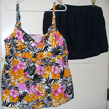 Womens Skirted Underwire Tankini Swimsuit Size 24W 24 W Island Escape NWT