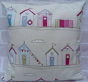 """Fryetts Beach Huts Bunting Cream & Pink cushion cover - All Sizes Available 16"""""""