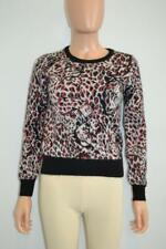 Saint Laurent Black/White/Metallic Red Mohair/Wool Leopard Print Sweater Size S