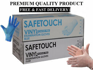 SAFETOUCH Disposable Clear Vinyl Powder & Latex Free Gloves 10 100 200 300 CHEAP