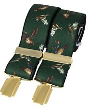 Luxury David Aster green Country Birds braces, 35mm wide Shooting,Pheasant, game