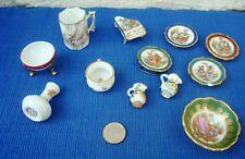 V22 Lot Objets Poupée Miniature Porcelaine Limoges Vase Pot Assiette piano