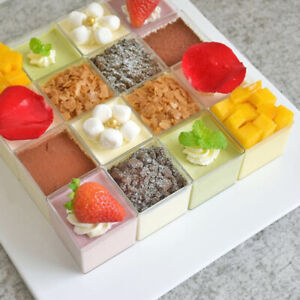 10/20pcs Mousse Yogurt Cake Dessert Clear Plastic Cups Jelly Square Container