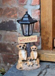 Garden Ornament Solar Powered Animal Meerkat Welcome Lamp Decor Patio