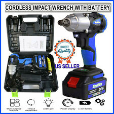 Impact Wrench Sockets set 21V 6000mAh Battery Cordless 1/2 Rattle Gun electric