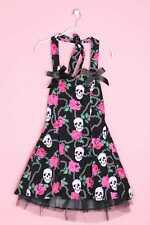 Hearts & Roses Gothik-Neckholder-Kleid D 38 Totenkopf- und Rosen- Damen Dress