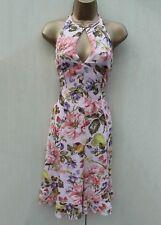 EXQUISITE KAREN MILLEN Silk FLORAL Print Summer Cocktail Cruise Dress 10-UK  38