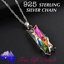 Rainbow Topaz Crystal Leaf Vines Pendant 925 Sterling Silver Chain Necklace Gift