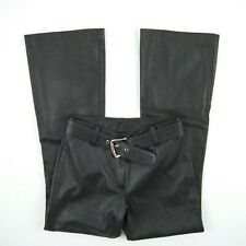 Leather Pants & Belt - High Waist Bootcut Brown Leather Pants Women's Size W28