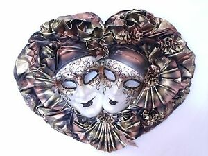 COPPER GOLD DOUBLE JOKER VENETIAN MASQUERADE WALL MASK MADE IN ITALY
