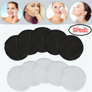 Reusable Makeup Remover Pad Round Towel Facial Cleansing Cloths Skin Care 5 Pack