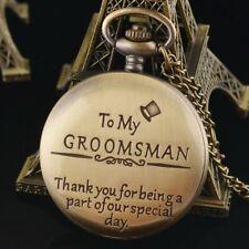 Quartz Vintage Pocket Watch Necklace Chain Pendant Gift for Groomsman Bestman