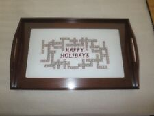 "Wood Happy Holidays Scrabble Board Handled Serving Tray w/Glass - 12.25"" x 19.5"""
