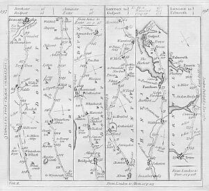 1782 Road Map Dorchester Bridport Winterbourne Abbas Fareham Gosport Penryn