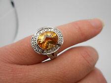 Gorgeous EFFY 3.50 Carat Natural Fancy Citrine Diamond 14K White Gold Ring Sz 6