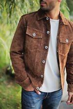 defect soldout mens EXPRESS GENUINE SUEDE button down trucker coat jacket m