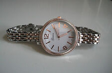 ROSE GOLD/SILVER FINISH GENEVA BRACELET OVERSIZED WOMEN'S BOYFRIEND WATCH