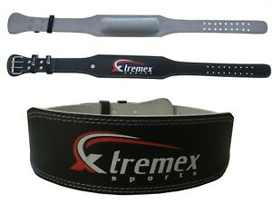 """WEIGHT LIFTING BELT 4"""" LEATHER BLACK BACK SUPPORT STRAP GYM BELT POWER LIFTING."""