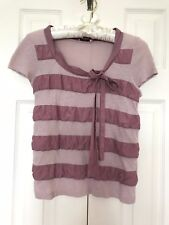 JUICY COUTURE Ribbon Collars Striped BOW Tie Blouse TOP Pilling VINTAGE-Look Tee