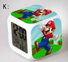 7 Color LED Night Light Alarm Clock Super Mario Figures Watch Toy New kids gifts
