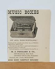 1878 Paillard Swiss Cylinder Music Box Antique 1878 Print Advertisement Only