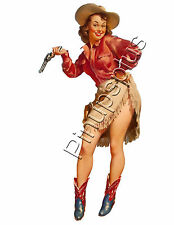Sexy Cowgirl with Pistol Pinup Girl Nose Art Waterslide Decal Sticker S410