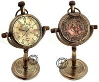 "Vintage Collectible Maritime 5"" Antique Brass Desk Clock Nautical Pocket Watch"